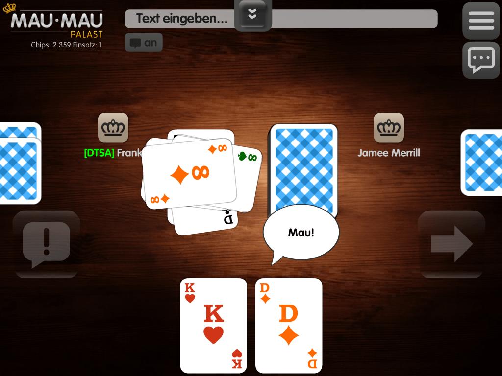"Screenshot Mau Mau Grundregeln - hier Ansage bei letzter Karte ""Mau"""