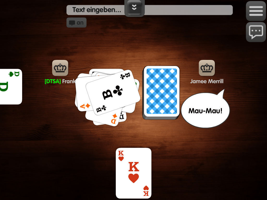 "Screenshot Mau Mau Grundregeln - hier Ansage bei Spielende ""Mau Mau"""